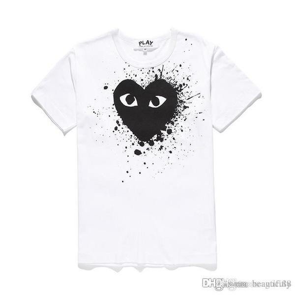2018 Nuova maglietta deisgners COM con cotone manica corta Des OFF Ricamo vacanza Cuore Emoji GARCONS Maglietta bianca economici unisex Taglia S-XL