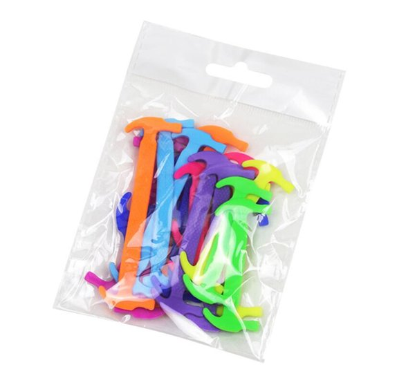 Manufacturer wholesale sales 12 hammer shoelaces with high elasticity silicone laces Lazy Sports Shoelaces DHL