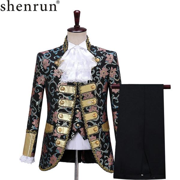 Shenrun Hommes 3 Pièces Costumes de scène Robe Cour européenne Robe moderne théâtre d'opéra porter des costumes style vintage