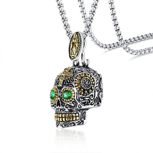 Готический Череп Подвеска для мужчин из нержавеющей стали Скелета Филигранных Crafts Зеленый Камень Глаз Панк Мужского Jewels