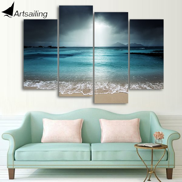 ArtSailing 4 panel canvas art sea beach wave seascape painting Canvas wall art home decoration pictures for living room cu-016 Y200102