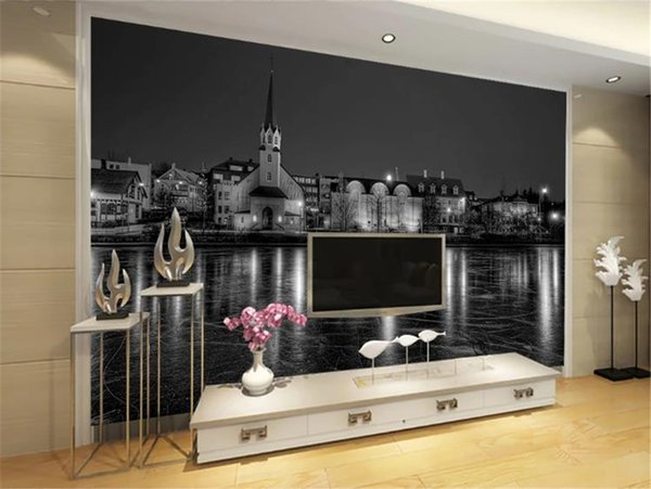 3d Wall paper For Kitchen Europe and America Black and White Water Building Home Decor Living Room Wall Covering Wallpaper