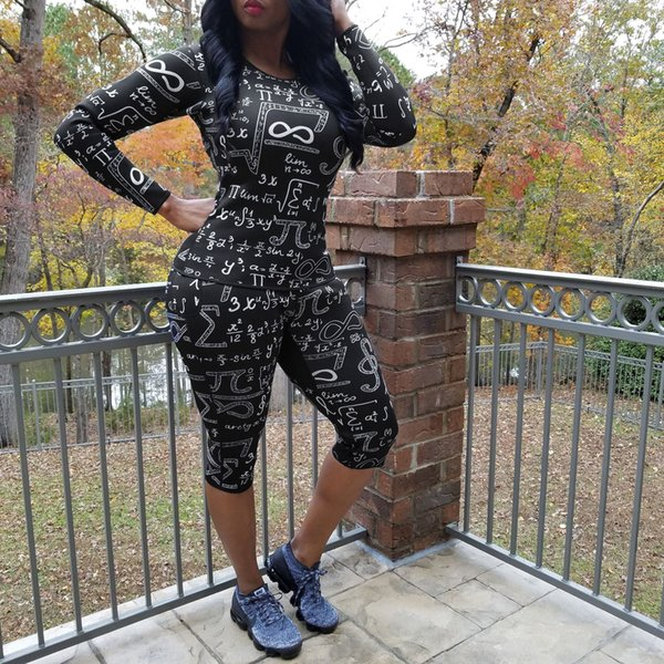 Womens Iki Parçalı Setleri Matematik Formülleri Sıska Suits Siyah Baskılı 2 Adet Pantolon Moda Kadınlar Seksi Giyim