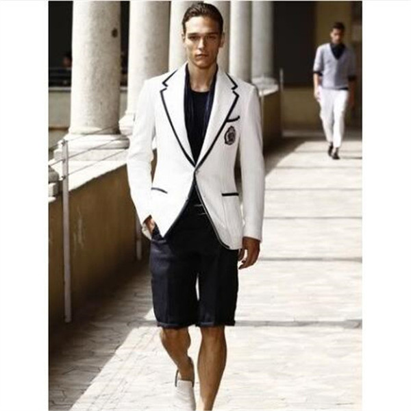 Summer Stylish White Men Suit Short Black Pant Casual Suits For Man 2 Piece Tuxedo Terno Masculino Blazer Dress (Jacket+Pant)