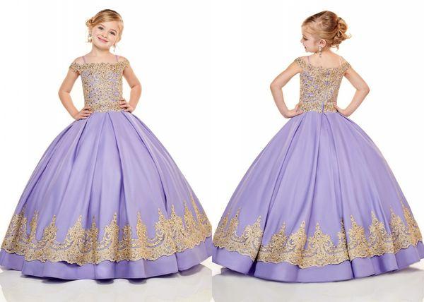 Romantic Gold Lace Lilac Satin Little Girls Pageant Dresses Cold shoulder Applique Princess Cheap Flower Girls Prom Formal Dress For Kids