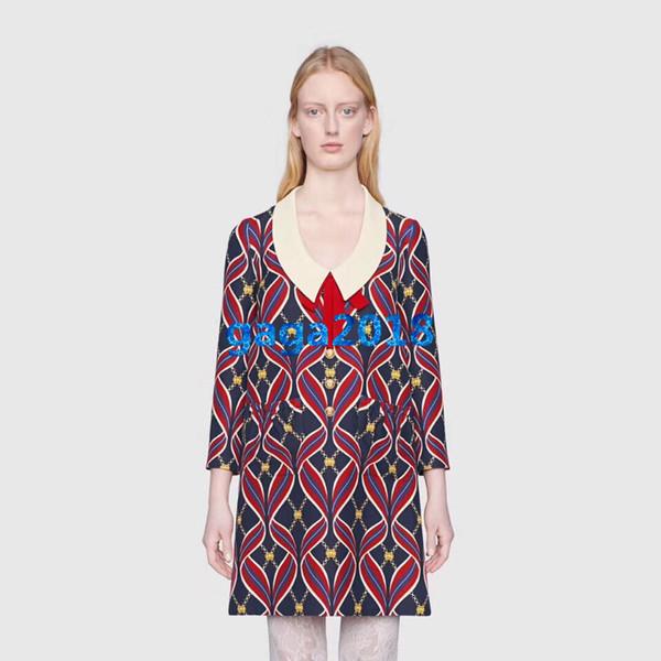 women girls wool shirt dress Interlocking letter ribbon print round neck long sleeves vintage a-line mini skirts high-end luxury dresses