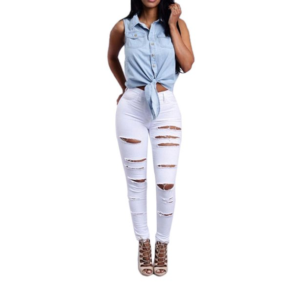 Plus Size jeans woman Summer 2019 Streetwear Casual Hollow Out Fashion Simple White ripped jeans for women jeans