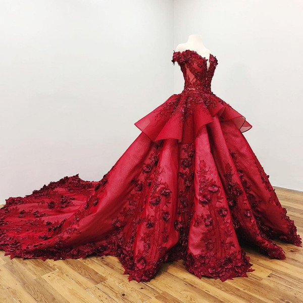 Luxuriou dark red prom dre e off houlder 3d floral applique ball gown beaded court train formal evening gown cu tom made, Black