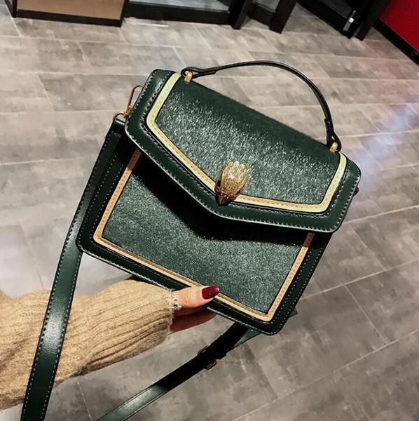 Wholesale brand women handbag new horse hair handbags in winter contrast leather fashion hand-held Messenger bag elegant atmosphere velvet h