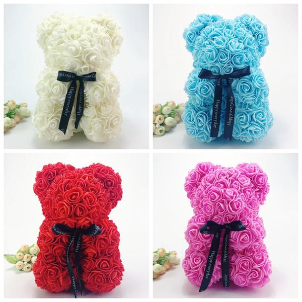 25CM Rose Bear Wedding Party Decoration Valentine's Day Gift Cute Cartoon Super Girlfriend Kid Gift Love Bear Dolls Present
