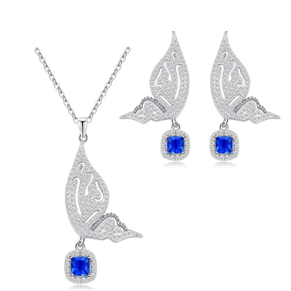 Fashion Butterfly Zircon Set Environmental Protection Copper Platinum S925 Silver Needle Ear Necklace Two-piece Set Chain