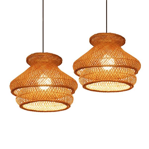 Bambou Moderne Travail Tricoté À La Main Lampe Suspension Droplight LED Lustre Suspension Lumière Avec Pour Salle À Manger Bedroom Art Home Lighting