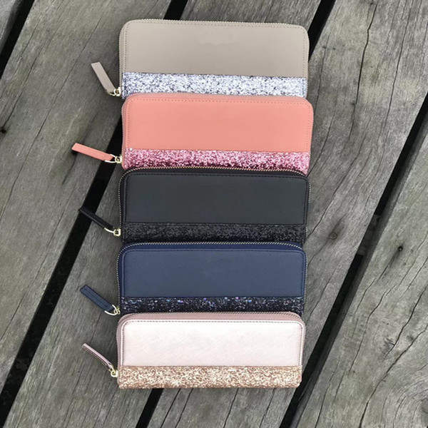 Women KS Wallet Glittler PU Leather Bags Fashion Zipper Handbags Lady Travel Phone Card Tote Purse Mother Day Gifts Hot Sale C42201