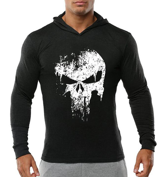 Punisher LOGO Hommes Gym Longue À Capuche Bête Bodybuilding Stringer Casual Respirant Pull À Capuche Sweat T-shirt À Manches Longues Hoodies NOUVEAU
