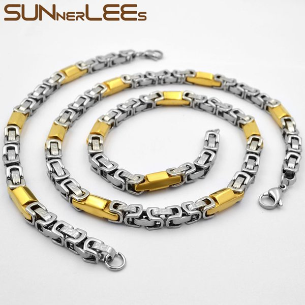 wholesale Fashion Jewelry Stainless Steel Necklace Bracelet Set 7mm Byzantine Link Chain Silver Gold Men Women SC131 S