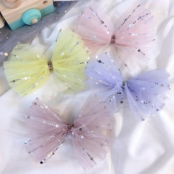 Boutique ins 20pcs Fashion Glitter Gauze Bow Hairpins Solid Stain Ribbon Big Bowknot Hair Clips Princess Headwear Hair Accessories