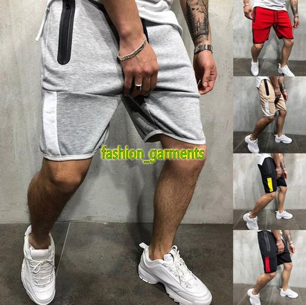 2019 New Fashion Mens Esplosioni Sport casuali Pantaloni da uomo Slim colore Zipper Fitness Pantaloncini da jogging Mens Designer pantaloncini sportivi multicolore