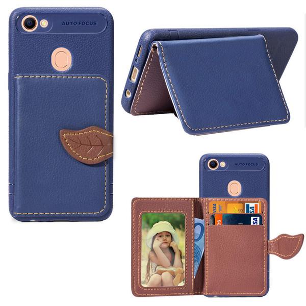 Für oppo a5 a57 f5 f7 f9 a39 a73 a75s blätter brieftasche case luxus tpu handy case cover mit kreditkartentasche wasserdicht