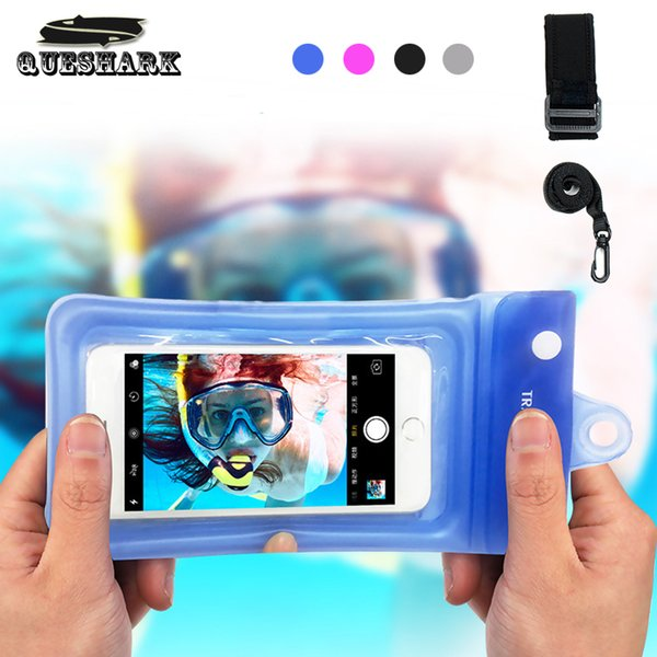 Universal Waterproof Diving Bag Phone Case Multifunction Cell Phone Dry Bag Pouch with Armband & Neck Strap for iPhone X/8 Plus