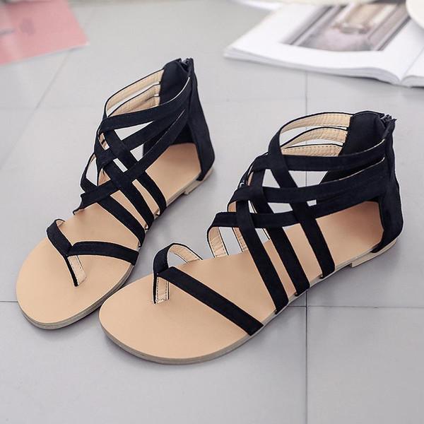 Seção de fina cinto tecido Toe Roman Sandals feminino verão plana mulheres sapatos