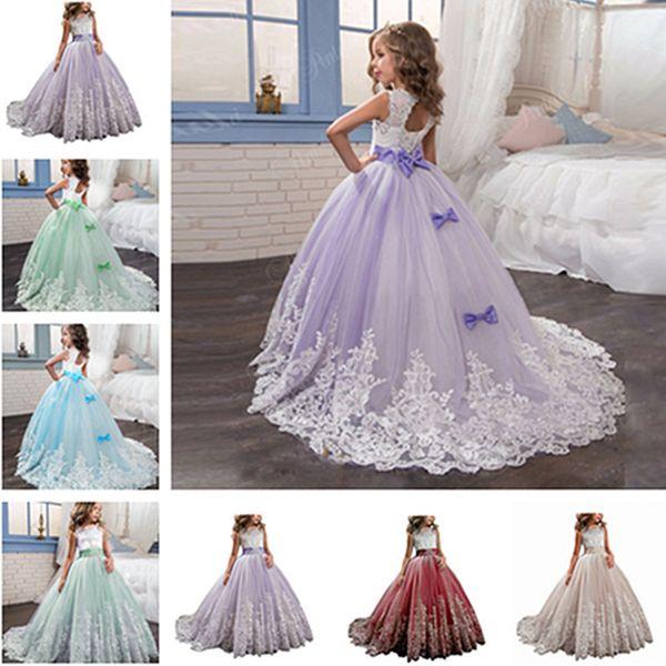 Flower Girls Dresses Princess Lilac Little Bride Long Pageant Dress for Girls Glitz Puffy Tulle Prom Dress Children Graduation Gown Custom
