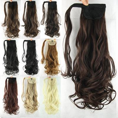 24 pulgadas 100 gramos de alta temperatura de seda largo rizado pelo lazo cola de caballo sintética peluca de pelo jooyoo