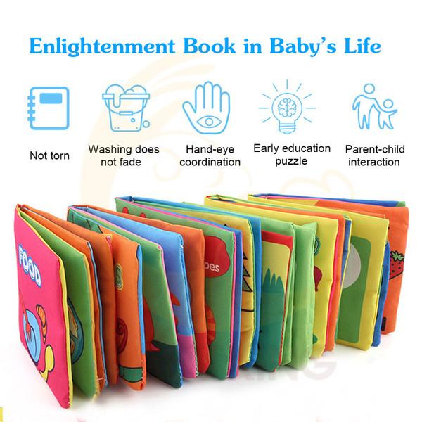 Libri per bambini Sviluppo di intelligenza in tessuto Giocattolo educativo Apprendimento morbido Libri per bambini per 0-12 mesi
