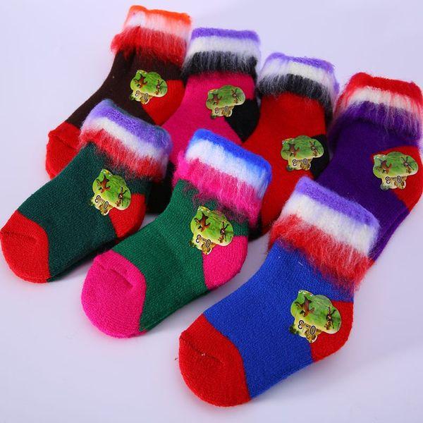I bambini calze colorate caldo arcobaleno Thick Velvet inverno Bambino appena nato Calzini per bambini ragazzi delle neonate Socks