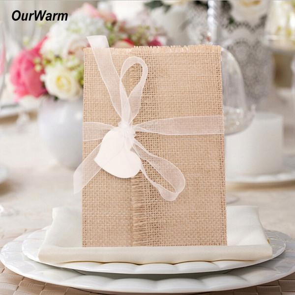 OurWarm 10Pcs Cartes d'invitation de mariage de bricolage Ruban Enveloppe Jute blanc papier Baptême rustique fête de mariage d'engagement Décoration