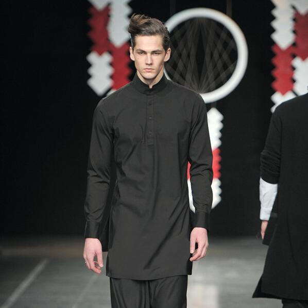 Yeni saç stilisti Çin tarzı uzun uzun kollu yaka gömlek erkek Ince gömlek gelgit ince kesit siyah