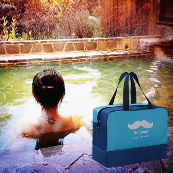 Nass und trocken Doppeltem Verwendungszweck Strandtasche Reißverschluss Lagerung Kosmetiktaschen Schnurrbart Wasserdichte Lächeln Trennung Gym Sporttasche