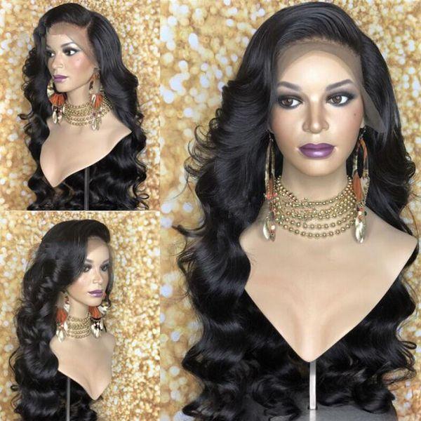 Peluca delantera sintética del cordón del envío libre para las mujeres pelucas sintéticas del pelo de la onda larga del cuerpo sin cola con los flequillo 180% de densidad lateral parte gorra