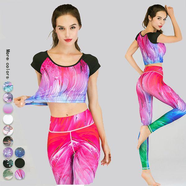 Floral Deporte polainas para la aptitud de los pantalones sin costura Ballet Yoga Wear mujeres conjunto Gimnasio Legging de manga larga de fitness leopardo de las mujeres Traje L