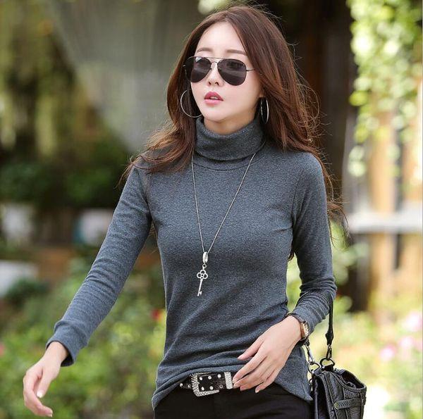 Hot High Neck Women's T-shirt Autumn Long Sleeve Solid Color Slim T-shirt Designer T-shirt for Women