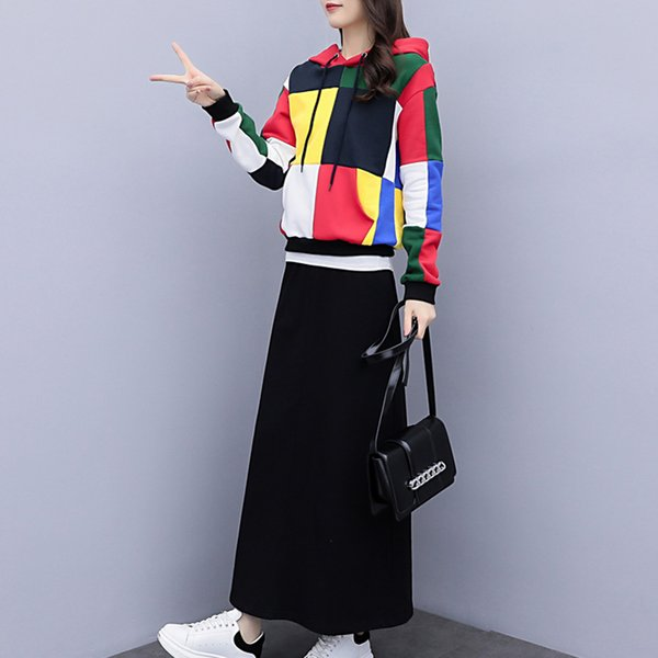 YICIYA 2 Piece crop top and skirt set women plus size large big hooded cotton long sleeve winter autumn clothing elegant vintage
