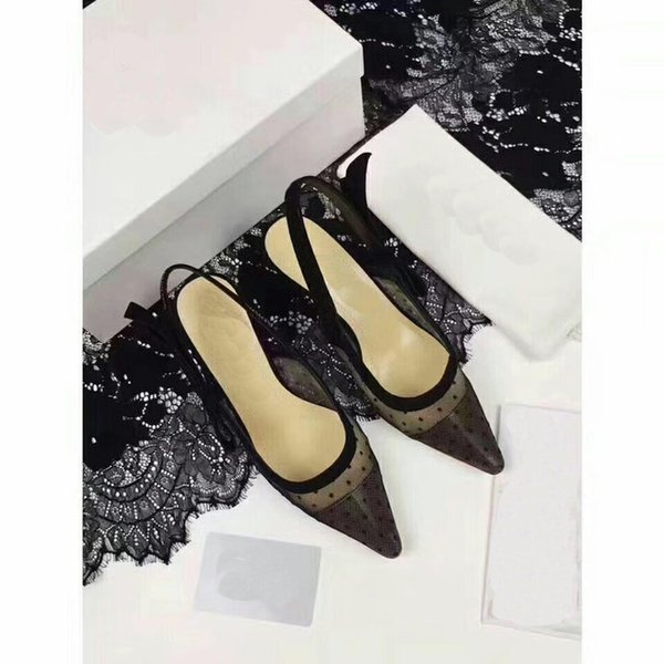 2019 Rhinestone Heel Brand Pointed toes Designer Slingbacks Pumps Women Lace Sandals High Heels Ladies Shoes Elegant black banquet shoe