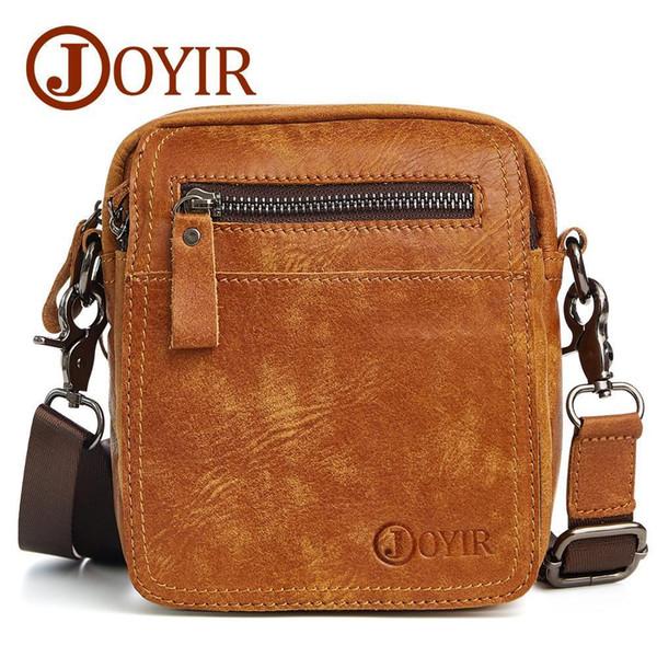 JOYIR Designer Small Messenger Bag Luxury Genuine Leather Men Bag Male Vintage Flap Shoulder Crossbody Bags Men Phone