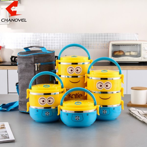 CHANOVEL 1 PCS Cute Cartoon Lunch box For Kids With Plastic Tiffin Boxes Thermal stainless steel Dinnerware Sets D19010902