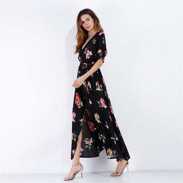 New fashionable dress for women in 2019 summer vacation in Europe and America with deep V-neck and multi-color Short Sleeve Chiffon sandy be