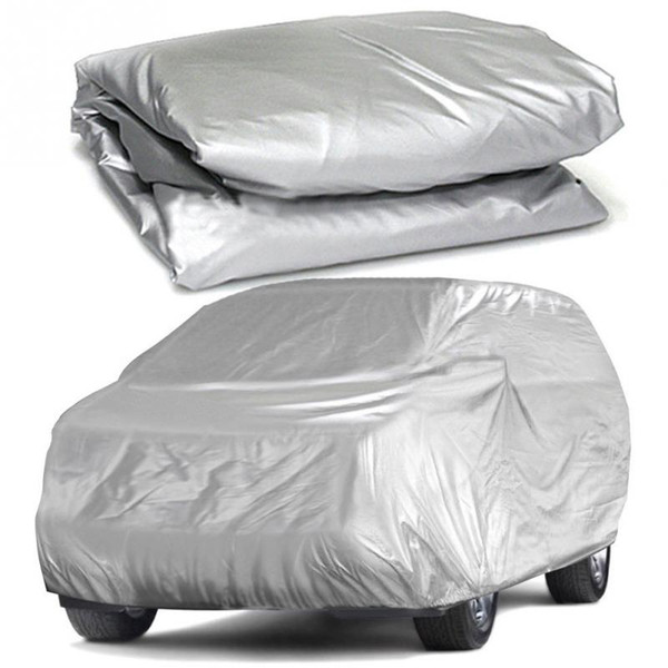 top popular Auto Covers 2019 Universal Full Car Covers Snow Ice Dust Sun UV Shade Cover Light Silver Size S-XL Auto Car Outdoor Protector Cover 2020