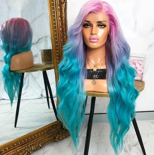 Glamour Bunte Luxus Körperwelle Haar Lace Front Perücke Promi Rihanna Stil Patel Einhorn Regenbogen Farbe Haar Volle Spitzefrontseitenperücken