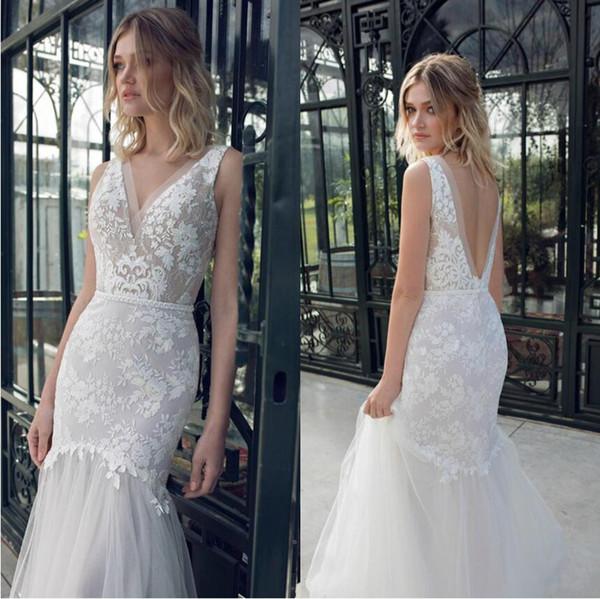 best selling Limor Rosen 2019 Wedding Dresses Sexy V Neck Backless Sleeveless Beach Bridal Gowns Lace Appliqued Mermaid Wedding Dress Vestidos De Noiva