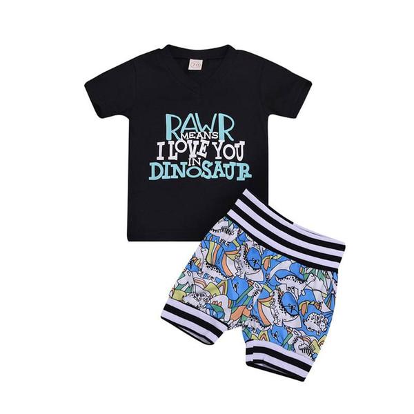 Trendy Kids Baby Jungen 2pc Set V-Ausschnitt Black Letters Tank Tops + Jungen Dino Print Shorts Outfits Kleinkind Kleidung Sets