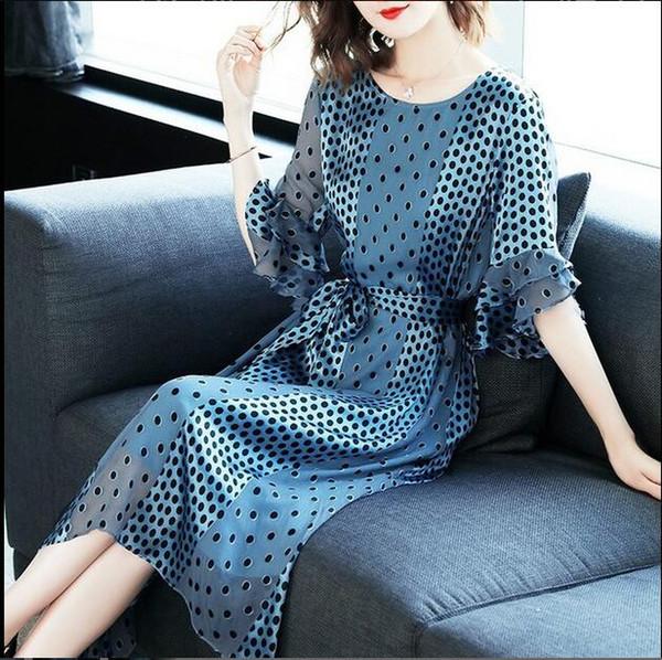 Summer dress European and American women's waist slimming ladies temperament gentle fairy wave print dress