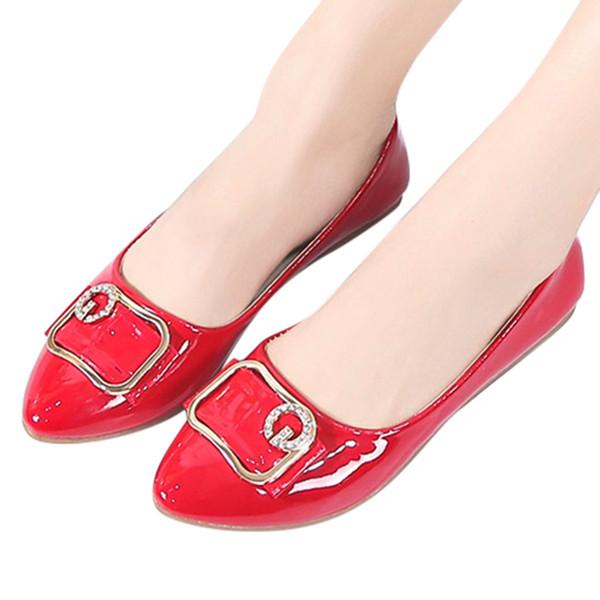 YOUYEDIAN ayakkabı kadın daireler zapatos de mujer Rahat Kristal Sivri Burun Düz Rahat Iş Ayakkabıları Üzerinde Kayma zapatillas mujer # g4