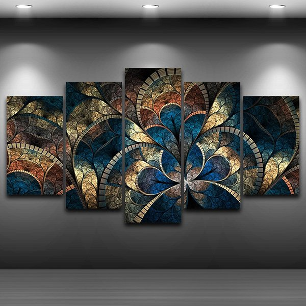 Abstraite Toile Peinture Mur Art Affiche À L'huile Mur Photos 5 Panneau Fantaisie Fleurs Pour Salon Home Decor No Frame