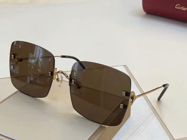 Gold Bronze Square Sunglasses Brown Shaded CT0153S Frameless Sun Glasses Women Designer Sunglasses Shades New with box