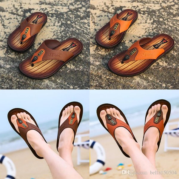 best quality designer sandals Leather flip-flops causal Non-slip summer huaraches slippers flip flops slippers summer outdoor beach slippers