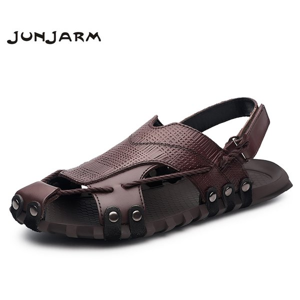 JUNJARM Handmade 2018 Men Fashion Sandals Summer Men's Slippers Genuine Leather Men Beach Shoes Casual Breathable Zapatos 38-47