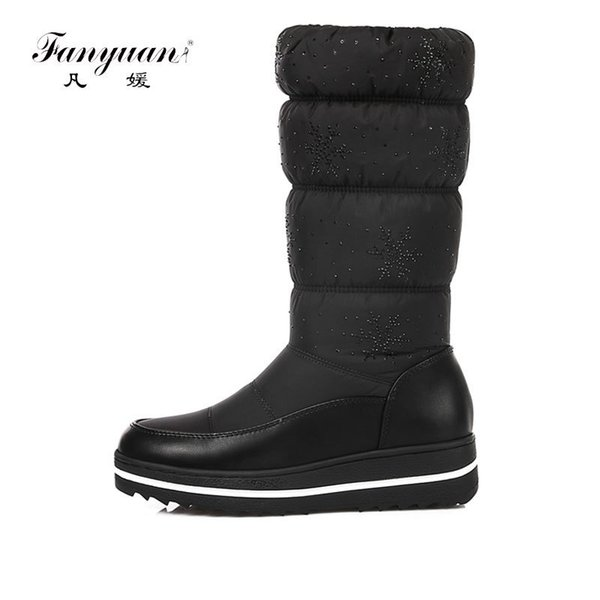 57ce35405744 Fanyuan winter warm down women waterproof shoes snow boots ladies fashion knee  high boots woman black